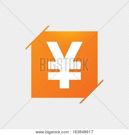 Yen sign icon. JPY currency symbol. Money label. Orange square label on pattern. Vector