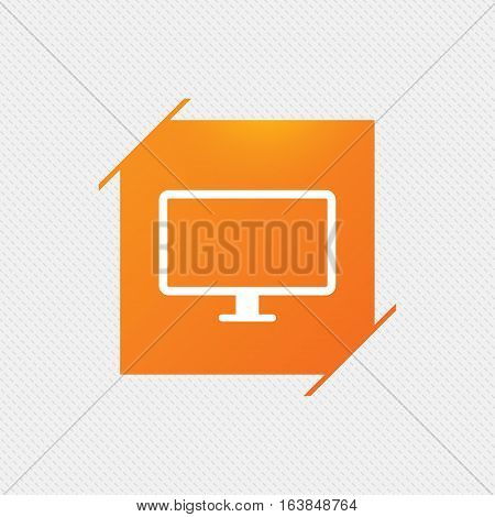 Computer widescreen monitor sign icon. Orange square label on pattern. Vector