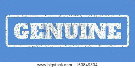 White rubber seal stamp with Genuine text. Vector caption inside rounded rectangular banner. Grunge design and unclean texture for watermark labels. Horisontal sticker on a blue background.