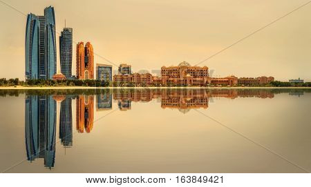 View of Abu Dhabi Skyline at sunset, United Arab Emirates