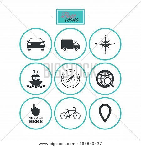 Navigation, gps icons. Windrose, compass and map pointer signs. Bicycle, ship and car symbols. Round flat buttons with icons. Vector