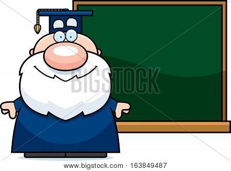 Cartoon Professor Chalkboard