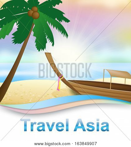Travel Asia Beach Indicating Tours Trips 3D Illustration