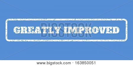 White rubber seal stamp with Greatly Improved text. Vector message inside rounded rectangular banner. Grunge design and dirty texture for watermark labels. Horisontal emblem on a blue background.
