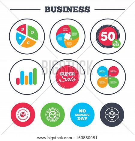 Business pie chart. Growth graph. No smoking day icons. Against cigarettes signs. Quit or stop smoking symbols. Super sale and discount buttons. Vector
