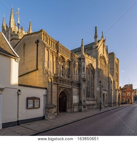 Bury St Edmunds, UK. 26th December 2016. The entrance to St Edmundsbury Cathedral in Bury St Edmunds captured at Angel Hill. The cathedral has origins dating back to the 11th Century.