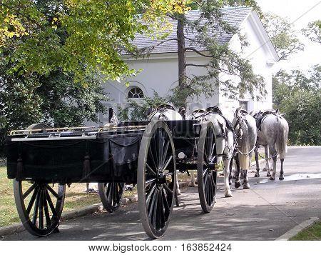 Arlington USA - October 18 2004: Catafalque in Arlington National Cemetery.