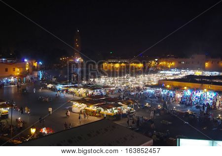 Night View Of The Market Onjemaa El Fna.