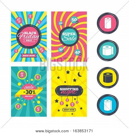 Sale website banner templates. Toilet paper icons. Kitchen roll towel symbols. WC paper signs. Ads promotional material. Vector