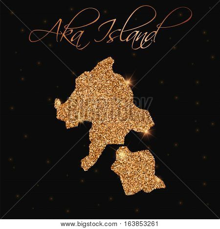 Aka Island Map Filled With Golden Glitter. Luxurious Design Element, Vector Illustration.