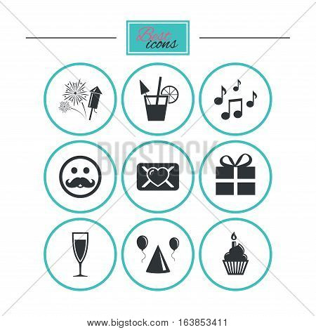 Party celebration, birthday icons. Musical notes, air balloon and champagne glass signs. Gift box, fireworks and cocktail symbols. Round flat buttons with icons. Vector