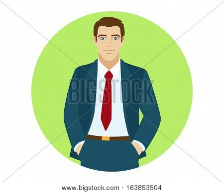 Businessman with his hands in his pockets. Portrait of businessman in a flat style. Vector illustration.