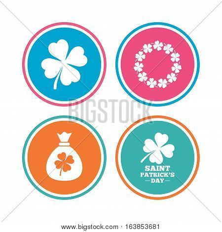 Saint Patrick day icons. Money bag with clover sign. Wreath of quatrefoil clovers. Symbol of good luck. Colored circle buttons. Vector