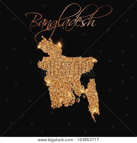 Bangladesh Map Filled With Golden Glitter. Luxurious Design Element, Vector Illustration.