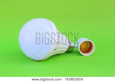close up lamp on isolated green background