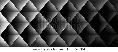 Retro background, triangles and rhombus, mesh gradient, transition from light to dark, vector wallpaper, black pattern