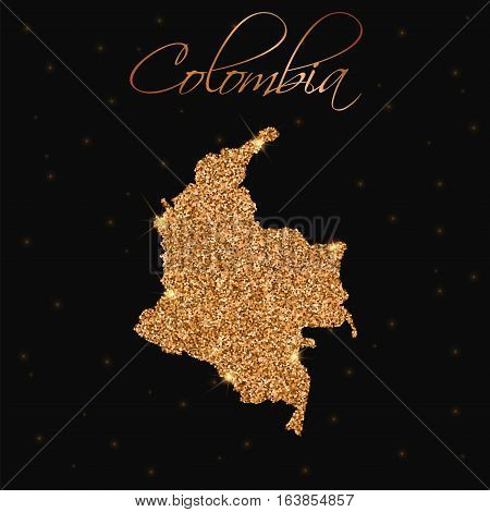 Colombia Map Filled With Golden Glitter. Luxurious Design Element, Vector Illustration.