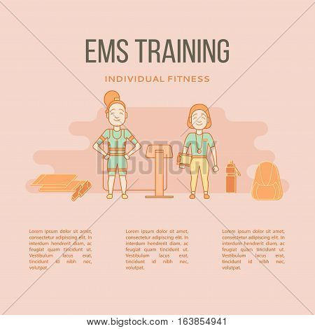 Ems training web banner or template in flat style. Electric muscular stimulating fitness concept. Vector illustration