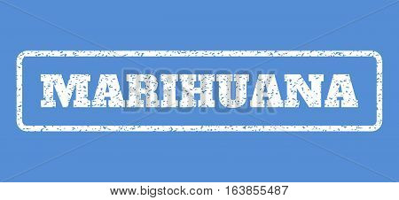 White rubber seal stamp with Marihuana text. Vector message inside rounded rectangular frame. Grunge design and dust texture for watermark labels. Horisontal sticker on a blue background.