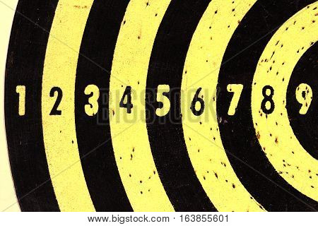 close up yellow target score board background