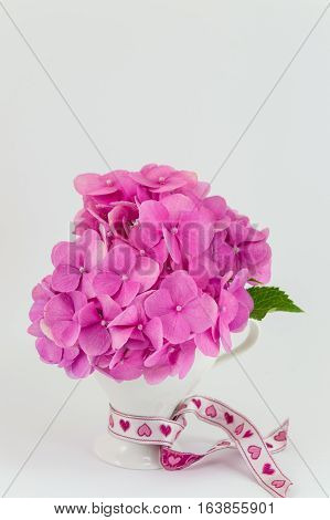 Bunch Of Hortensia Pink Flowers In A Vase