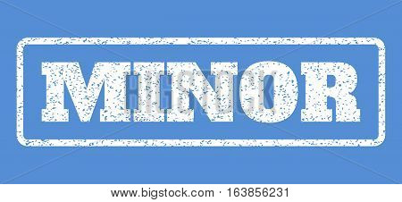 White rubber seal stamp with Minor text. Vector message inside rounded rectangular shape. Grunge design and dust texture for watermark labels. Horisontal emblem on a blue background.