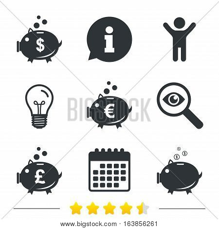 Piggy bank icons. Dollar, Euro and Pound moneybox signs. Cash coin money symbols. Information, light bulb and calendar icons. Investigate magnifier. Vector