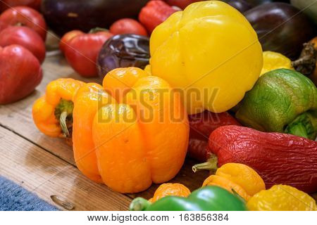 Homegrown Organic Peppers And Tomatoes