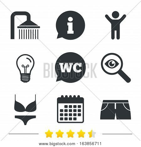 Swimming pool icons. Shower water drops and swimwear symbols. WC Toilet speech bubble sign. Trunks and women underwear. Information, light bulb and calendar icons. Investigate magnifier. Vector