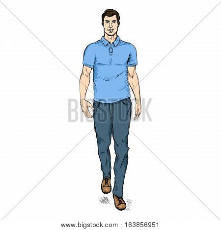 Vector Sketch Fashion Male Model In Trousers And Polo Shirt