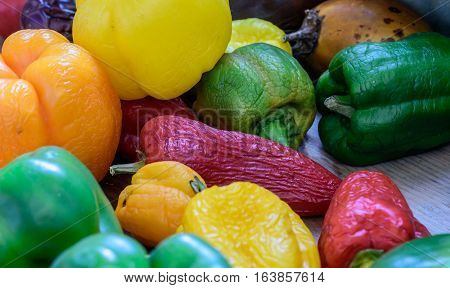 Homegrown Organic Peppers In Red Yellow Green