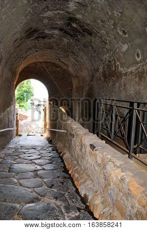 Architectural ruins Italian historic center of Pompeii.