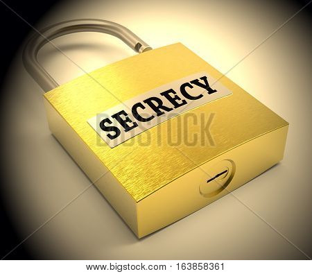 Secrecy Padlock Representing Top Secret 3D Rendering