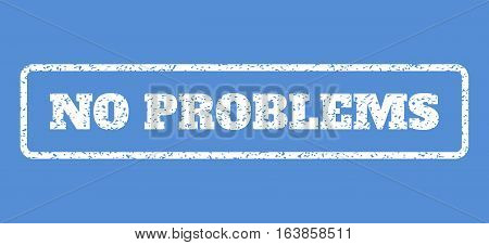 White rubber seal stamp with No Problems text. Vector tag inside rounded rectangular banner. Grunge design and dust texture for watermark labels. Horisontal emblem on a blue background.