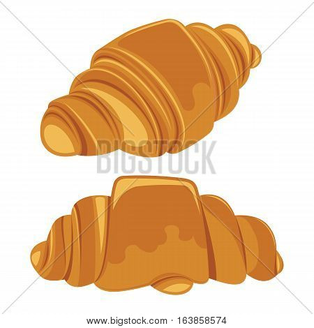 Set of croissants isolated on a white background. Vector illustration