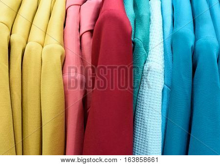 Vertical Rows Of Colourful Women Coats