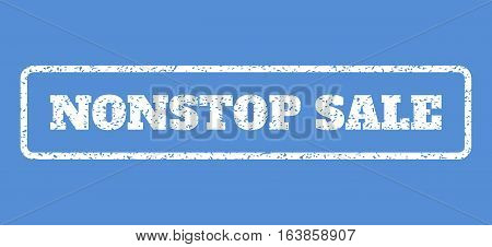 White rubber seal stamp with Nonstop Sale text. Vector tag inside rounded rectangular banner. Grunge design and dust texture for watermark labels. Horisontal sticker on a blue background.