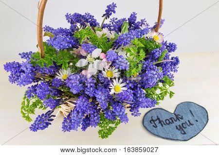 Bluebell Flowers Bouquet In Wicker Basket