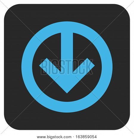 Direction Down glyph icon. Image style is a flat icon symbol on a rounded square button blue and gray colors.