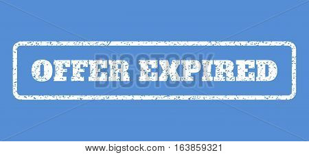 White rubber seal stamp with Offer Expired text. Vector message inside rounded rectangular banner. Grunge design and scratched texture for watermark labels. Horisontal emblem on a blue background.