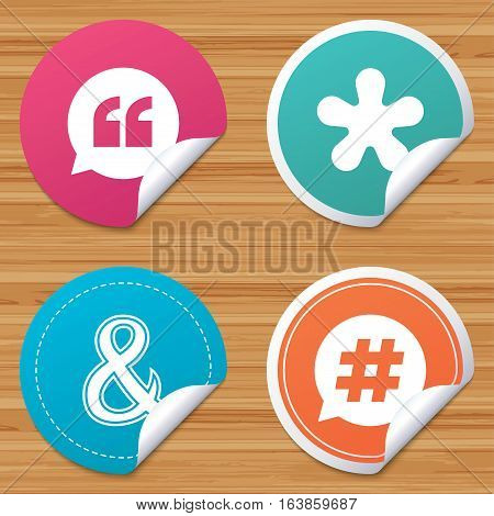 Round stickers or website banners. Quote, asterisk footnote icons. Hashtag social media and ampersand symbols. Programming logical operator AND sign. Speech bubble. Circle badges with bended corner