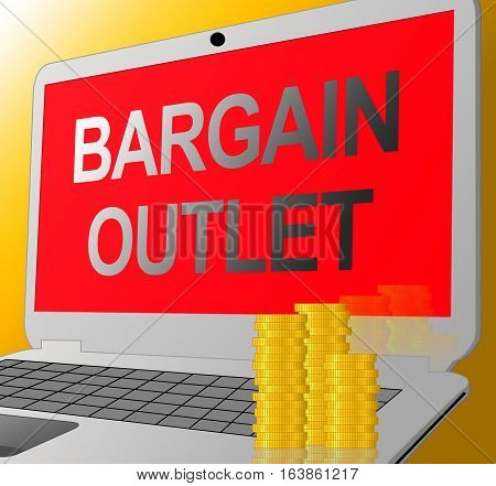 Bargain Outlet Represents Market Discount 3D Illustration