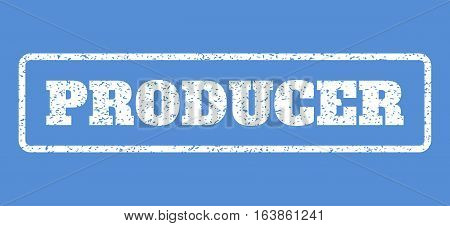 White rubber seal stamp with Producer text. Vector tag inside rounded rectangular shape. Grunge design and dust texture for watermark labels. Horisontal sticker on a blue background.