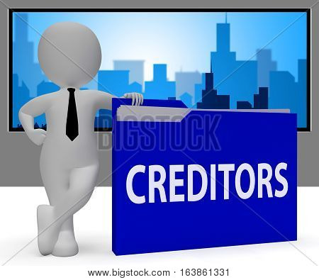 Creditors Folder Shows Debt Lend 3D Rendering