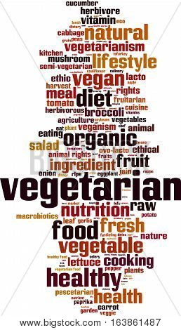 Vegetarian word cloud concept. Vector illustration on white