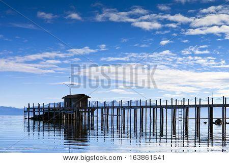 Pier in Tahoe City California in Lake Tahoe
