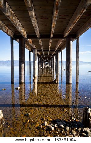 Under a pier at Lake Tahoe California