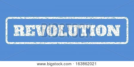 White rubber seal stamp with Revolution text. Vector caption inside rounded rectangular shape. Grunge design and unclean texture for watermark labels. Horisontal emblem on a blue background.