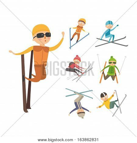 Skiing people tricks collection vector illustration. Downhill dangerous guy season extreme sport. Young fast characters fun speed action. Jumper athlete activity.