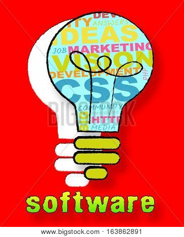 Software Lightbulb Representing Browsing Programs 3D Illustration
